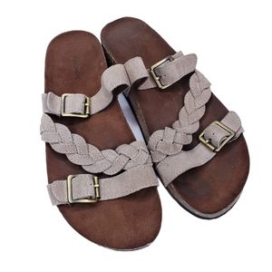 Sonoma Taupe Leather Buckle Strap Slip On Sandals